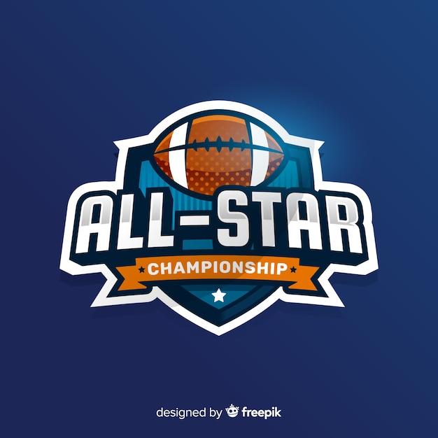 Moderne amerikaanse voetbal team logo sjabloon Gratis Vector