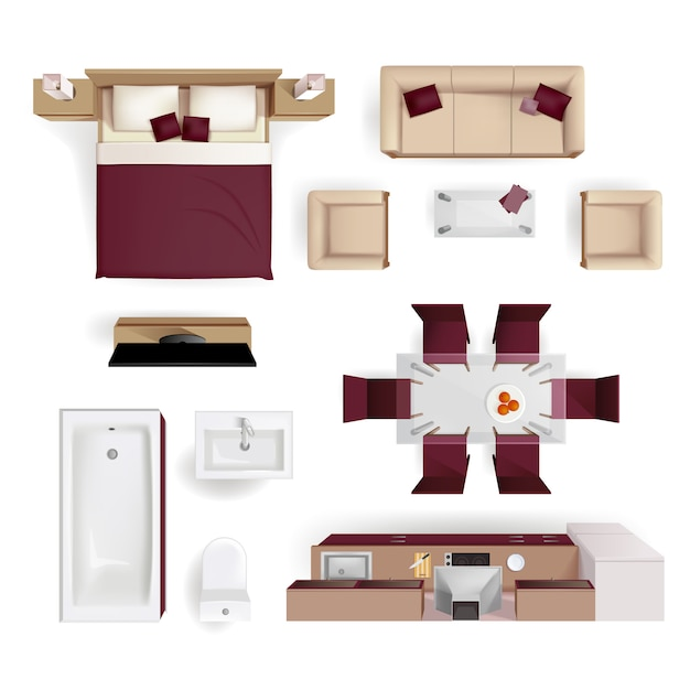 Moderne appartement woonkamer Gratis Vector