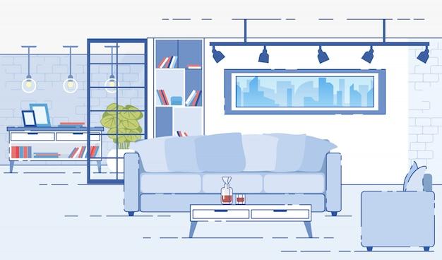 Moderne appartementen comfortabel interieur platte vector Premium Vector