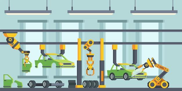 Moderne auto's productieproces platte vectorillustratie Premium Vector