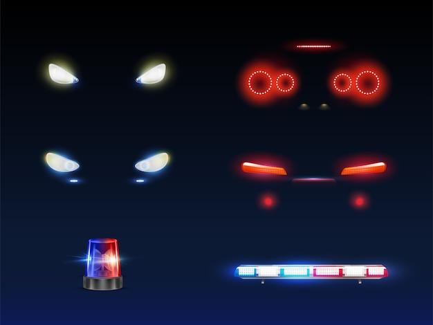 Moderne auto voorkant, terug koplampen, draaiende en knipperende politie of ambulance auto baken en lichtbalk gloeiende witte, rode en blauwe 3d-realistische vector set. passagier buitenste element van het noodvoertuig Gratis Vector