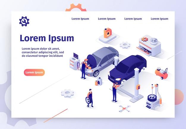 Moderne auto workshop isometrische vector website Premium Vector