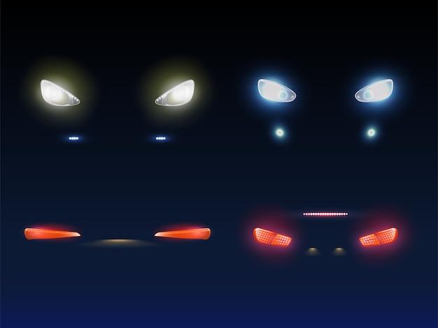 Moderne autovoorzijde, achterverlichting gloeiend rood, wit en blauw in duisternis Gratis Vector