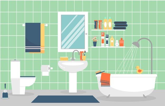 Moderne badkamer interieur met meubels in vlakke stijl. ontwerp een moderne badkamer, tandpasta en tandenborstel, scheermesje en lotion. Gratis Vector