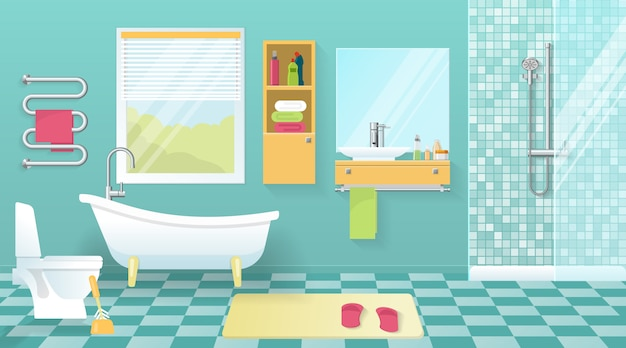 Moderne badkamer interieur Gratis Vector