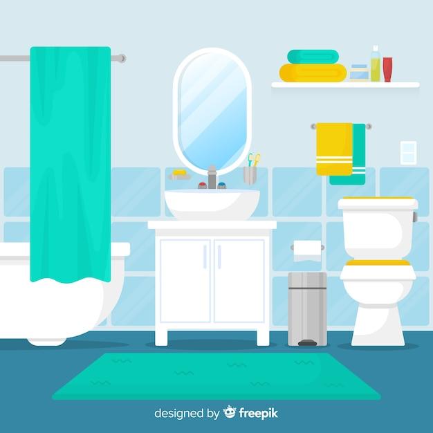 moderne badkamer met een plat ontwerp gratis vector