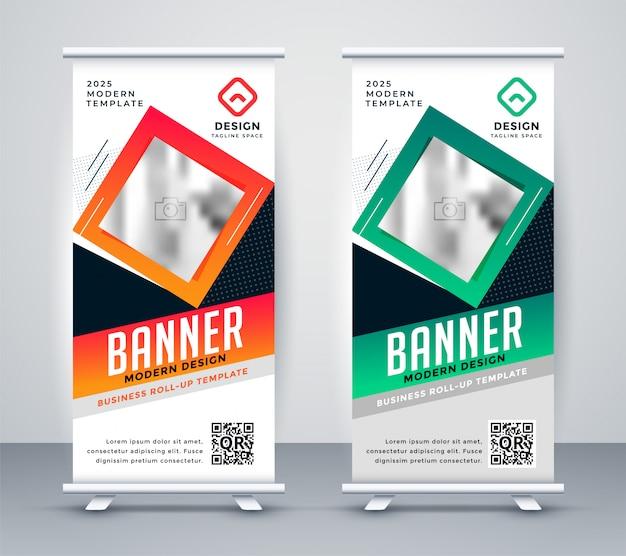 Moderne banner van de standee samengestelde presentatie Gratis Vector