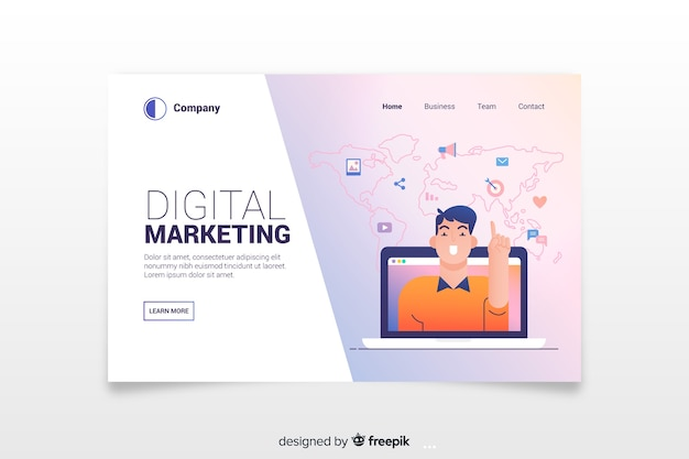 Moderne bestemmingspagina voor digitale marketing Gratis Vector
