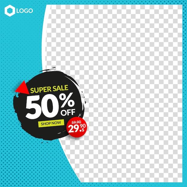 Moderne bewerkbare verkoopbanner voor instagram en web met leeg abstract frame Premium Vector