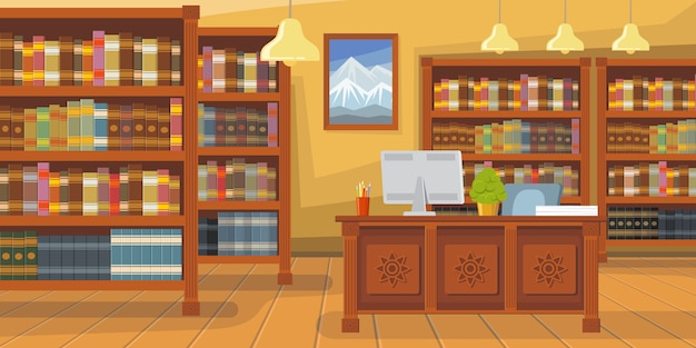 Moderne bibliotheek met boekenrekillustratie Gratis Vector