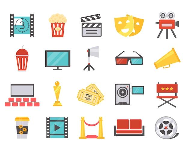 Moderne bioscooppictogrammen in vlakke stijl. het concept van filmen en première in de bioscoop. vector illustratie Gratis Vector