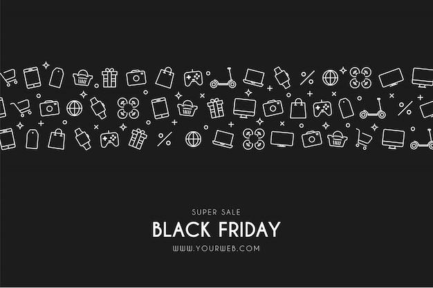 Moderne black friday-achtergrond met pictogrammen Gratis Vector