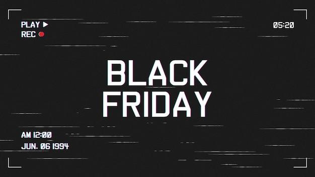 Moderne black friday-achtergrond met vhs-effectmalplaatje Gratis Vector