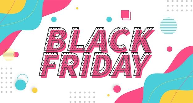 Moderne black friday kleurrijke super sale met memphis achtergrond Gratis Vector