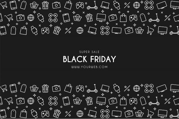 Moderne black friday super sale-achtergrond met winkelpictogrammen Gratis Vector