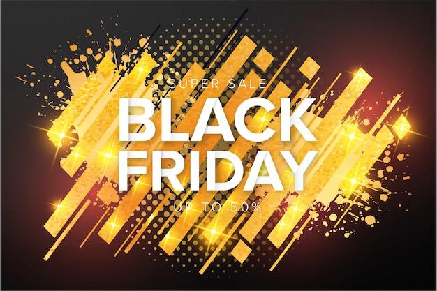 Moderne black friday super sale-banner met gouden plons Gratis Vector