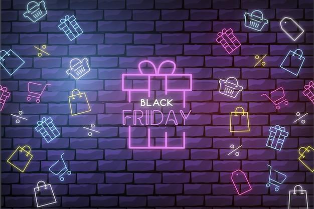 Moderne black friday-verkoopachtergrond met neon-winkelelementen Gratis Vector