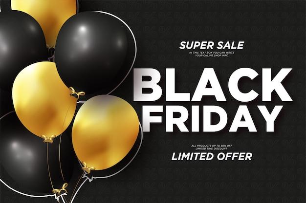 Moderne black friday-verkoopbanner met realistische ballonnen Gratis Vector