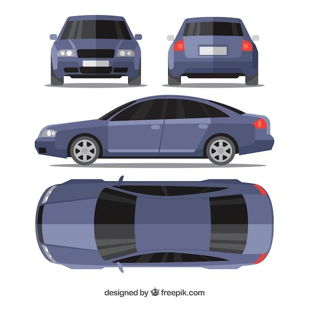 Moderne blauwe auto in verschillende uitzichten Gratis Vector