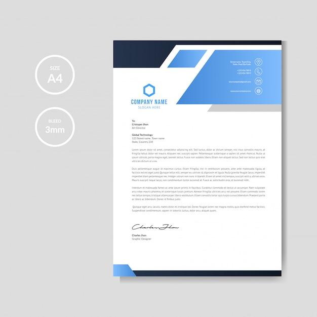 Moderne blauwe briefhoofdachtergrond Premium Vector