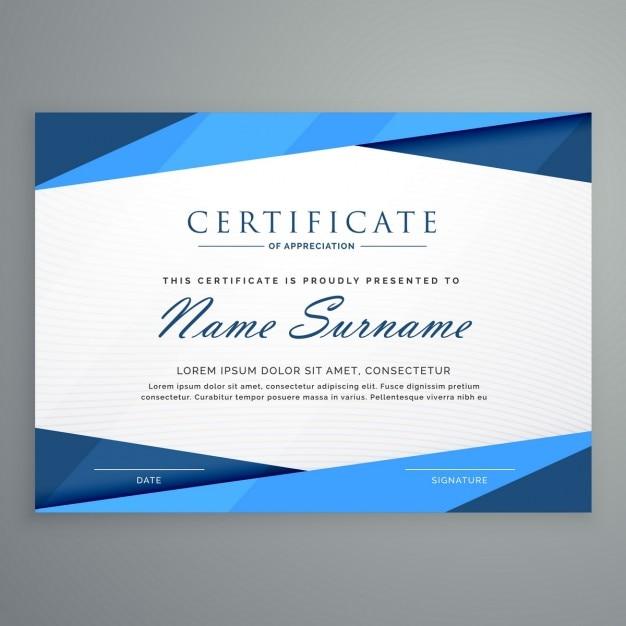 Moderne blauwe driehoek certificaatsjabloon Gratis Vector