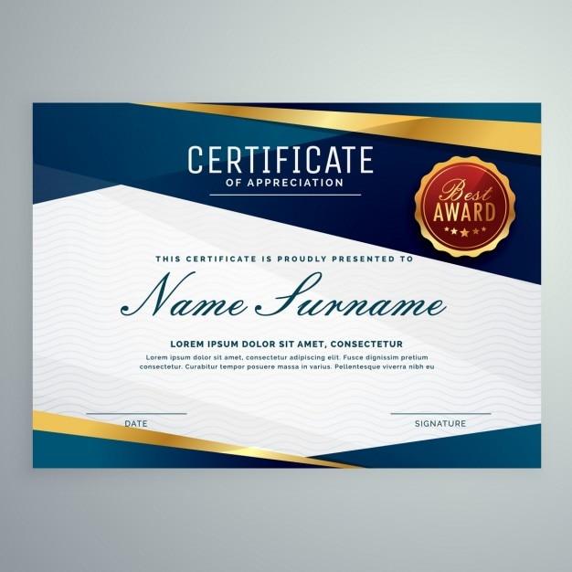 Moderne blauwe en gouden certificaatsjabloon Gratis Vector