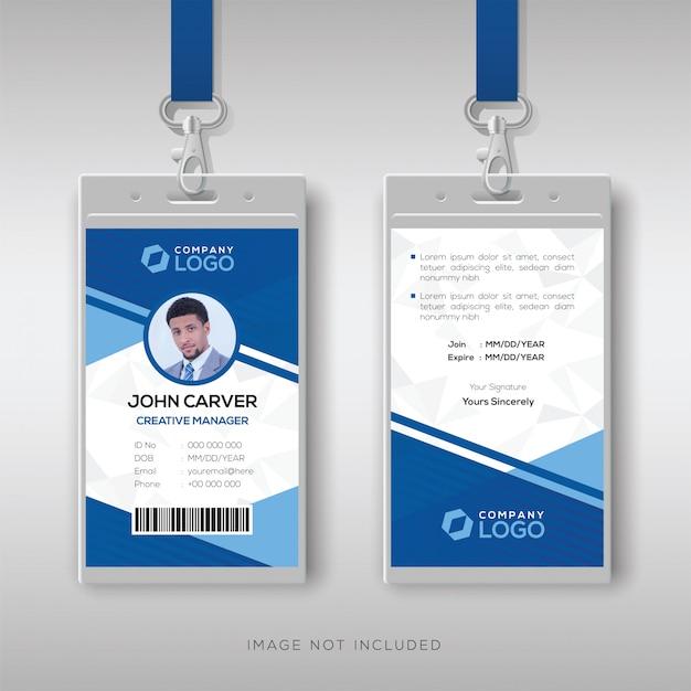 Moderne blauwe id-kaartsjabloon Premium Vector