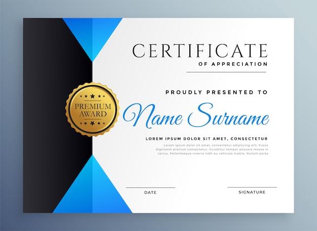 Moderne blauwe multifunctionele certificaatsjabloon Gratis Vector