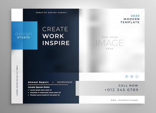 Moderne blauwe presentatie zakelijke sjabloon Gratis Vector