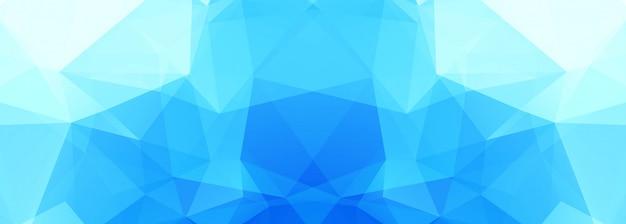 Moderne blauwe veelhoekbanner Gratis Vector