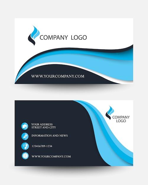 Moderne blauwe zakelijke creatieve kaartsjabloon Premium Vector