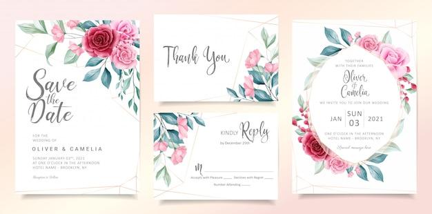 Moderne bloemen bruiloft uitnodiging kaartsjabloon ingesteld met elegante aquarel bloemen en bladeren. Premium Vector