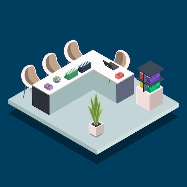 Moderne boek bibliotheek kamer kleur illustratie. universitair computerlokaal. vergaderruimte, bureaus met laptops. openbare bibliotheek interieur concept op blauwe achtergrond Premium Vector