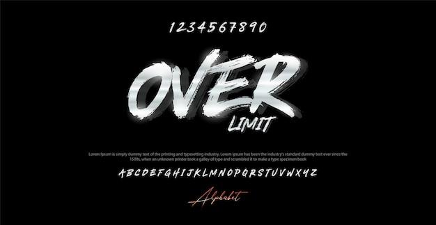 Moderne borstel alfabet lettertype en nummer. typografie stedelijke stijl lettertypen Premium Vector