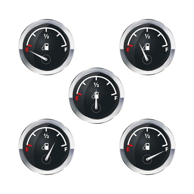Moderne brandstofindicatoren die op wit worden geïsoleerd Premium Vector