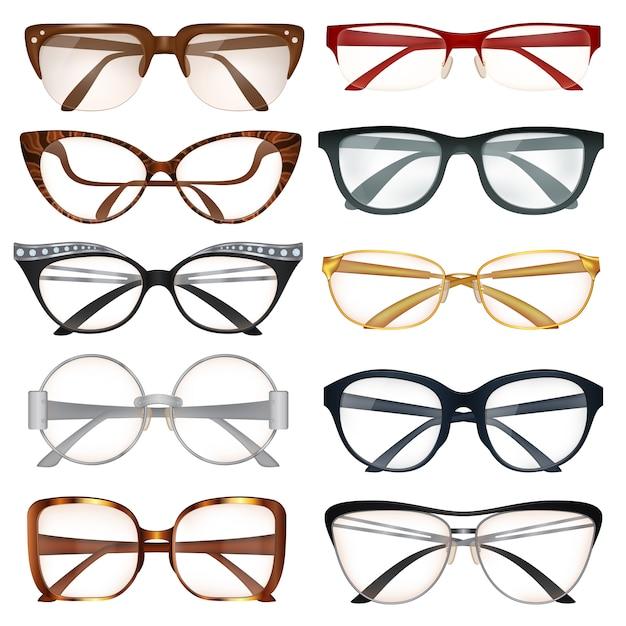 Moderne brillen set Gratis Vector