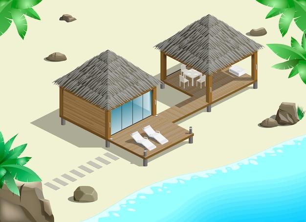 Moderne bungalow aan de kust Premium Vector