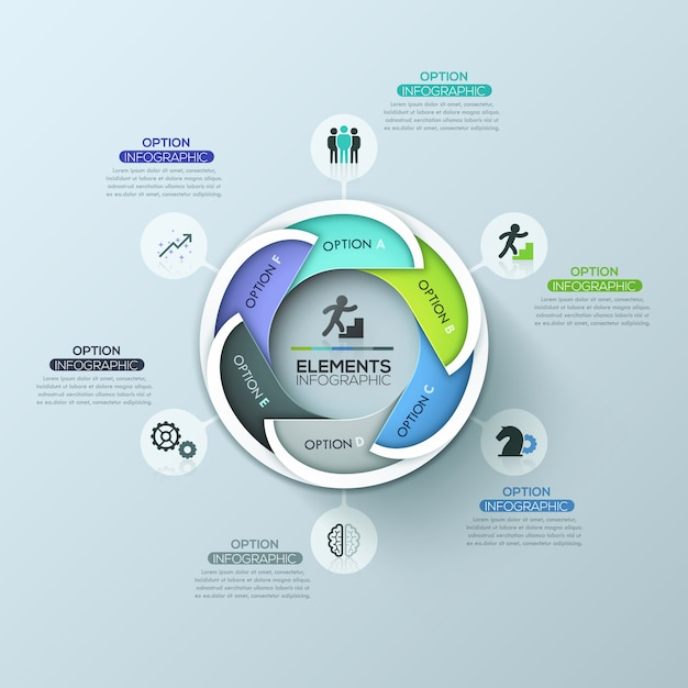 Moderne circulaire infographic ontwerplay-out met 6 letters overlappende elementen Premium Vector