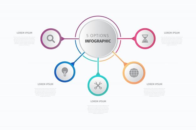 Moderne cirkel infographic vector sjabloon Premium Vector