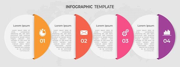 Moderne cirkels tijdlijn infographic sjabloon 4 opties. Premium Vector