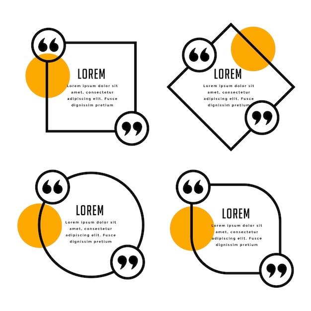 Moderne citaten sjabloon in lijnstijl Gratis Vector