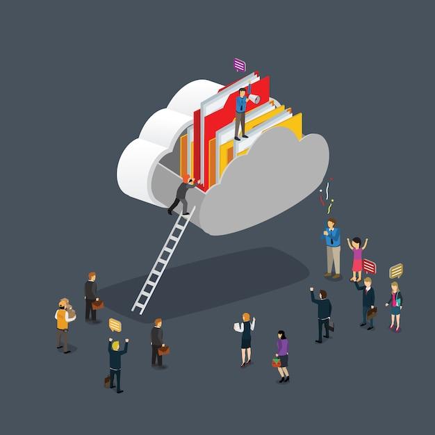 Moderne cloud computing Premium Vector