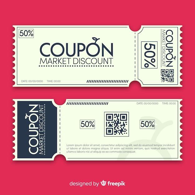 Moderne coupon sjabloonontwerp Gratis Vector