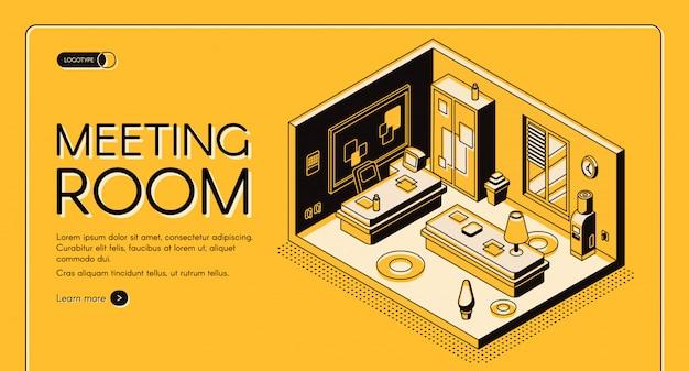 Moderne coworking centrum kantoor werkgebieden en diensten isometrische vector webbanner. Gratis Vector