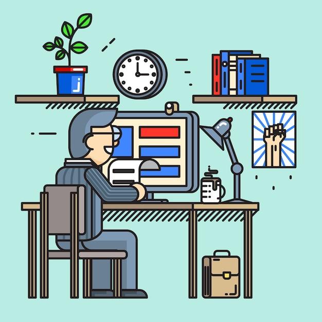 Moderne creatieve bureau werknemer in vlakke lijnstijl. kantoorwerkplek, routineproces, drukke zakenman. Gratis Vector