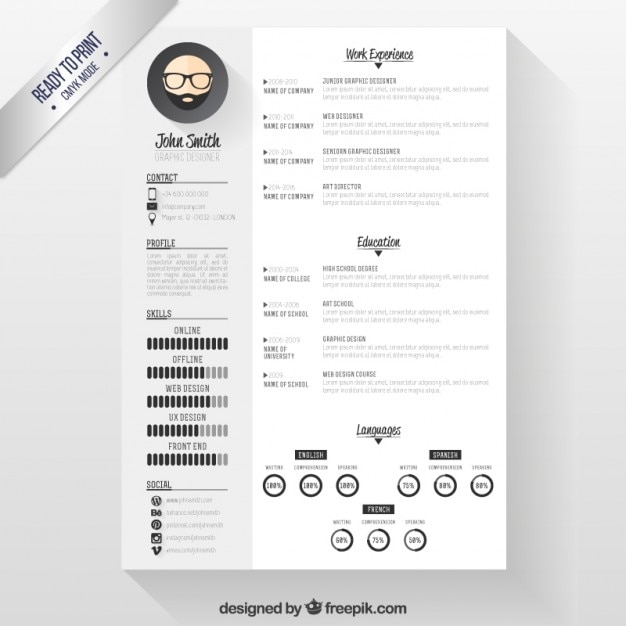 sjabloon modern cv gratis Moderne CV sjabloon Vector | Gratis Download