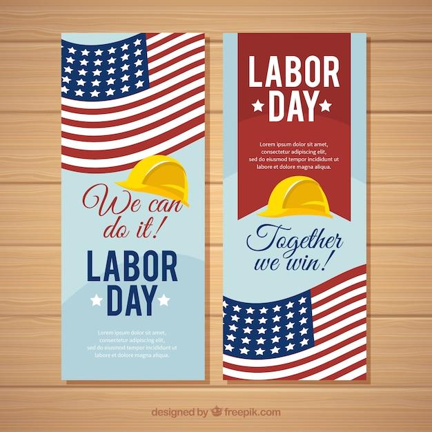 Moderne dag van de arbeid banners met platte ontwerp Gratis Vector