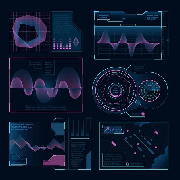 Moderne digitale symbolen web ui. ingesteld voor projecten Premium Vector