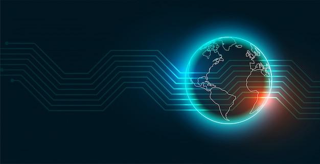 Moderne digitale technologie aarde achtergrond Gratis Vector