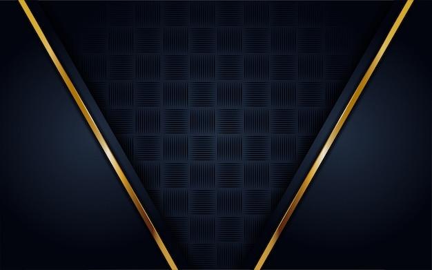 Moderne donkerblauwe achtergrond met glans, gouden lijn Premium Vector